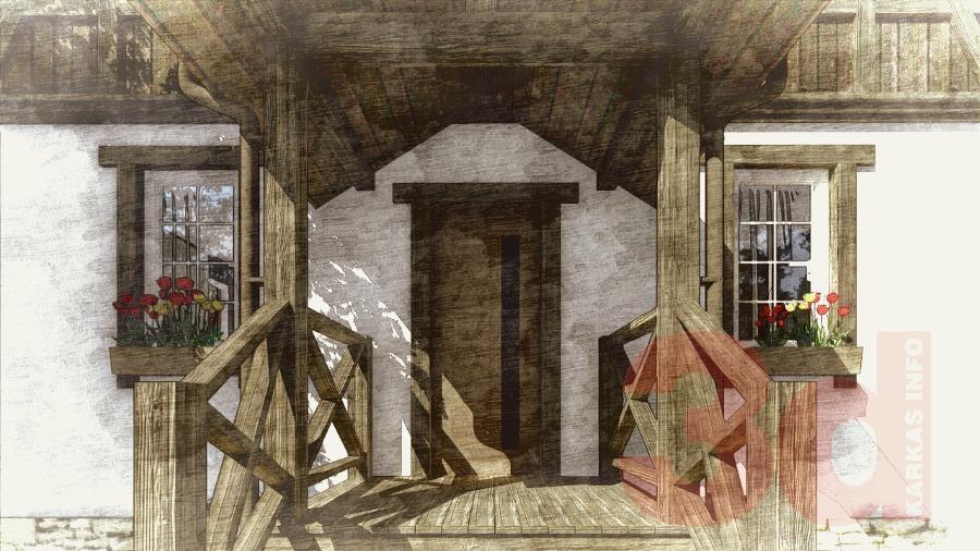 Крыльцо каркасного дома Ямуга 124