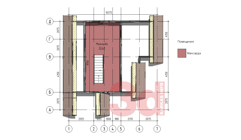 План мансарды каркасного дома КД-104