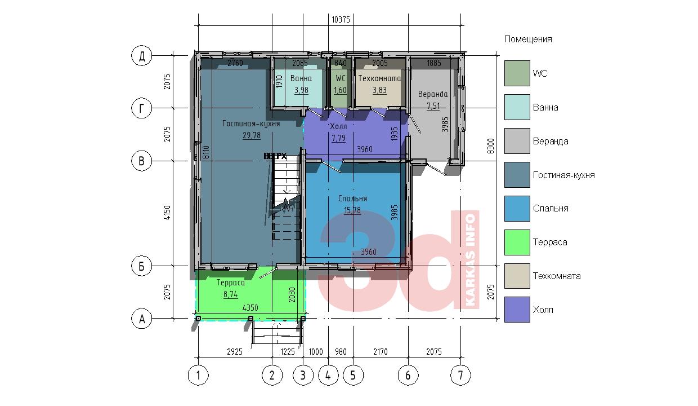 План первого этажа каркасного дома КД-104