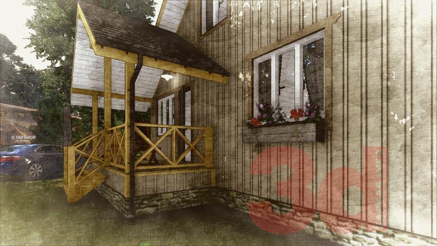 Терраса каркасного дома КД-104