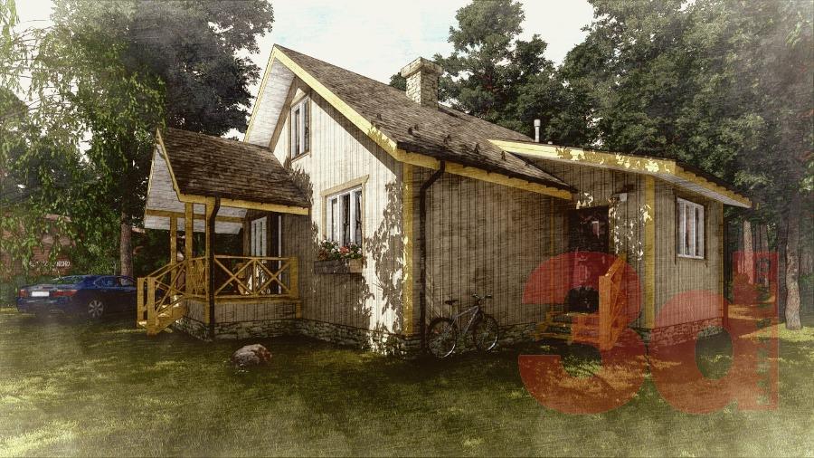 Вид каркасного дома КД-104