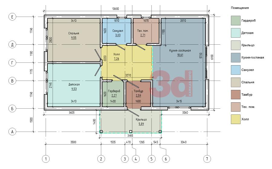 План каркасного дома Дарина 2(КД-56)